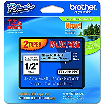 """Brother P-touch TZe1312PK 1/2"""" Standard Laminated Tape, Black on Clear, 26.2 Feet (2-Pack)"""