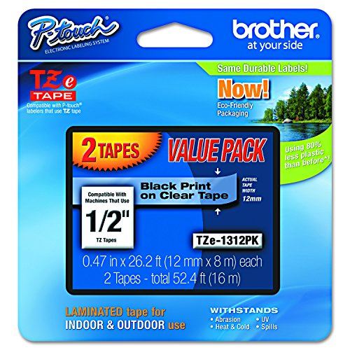 "Brother P-touch TZe1312PK 1/2"" Standard Laminated Tape, Black on Clear, 26.2 Feet (Brother P-touch Laminated Tapes)"