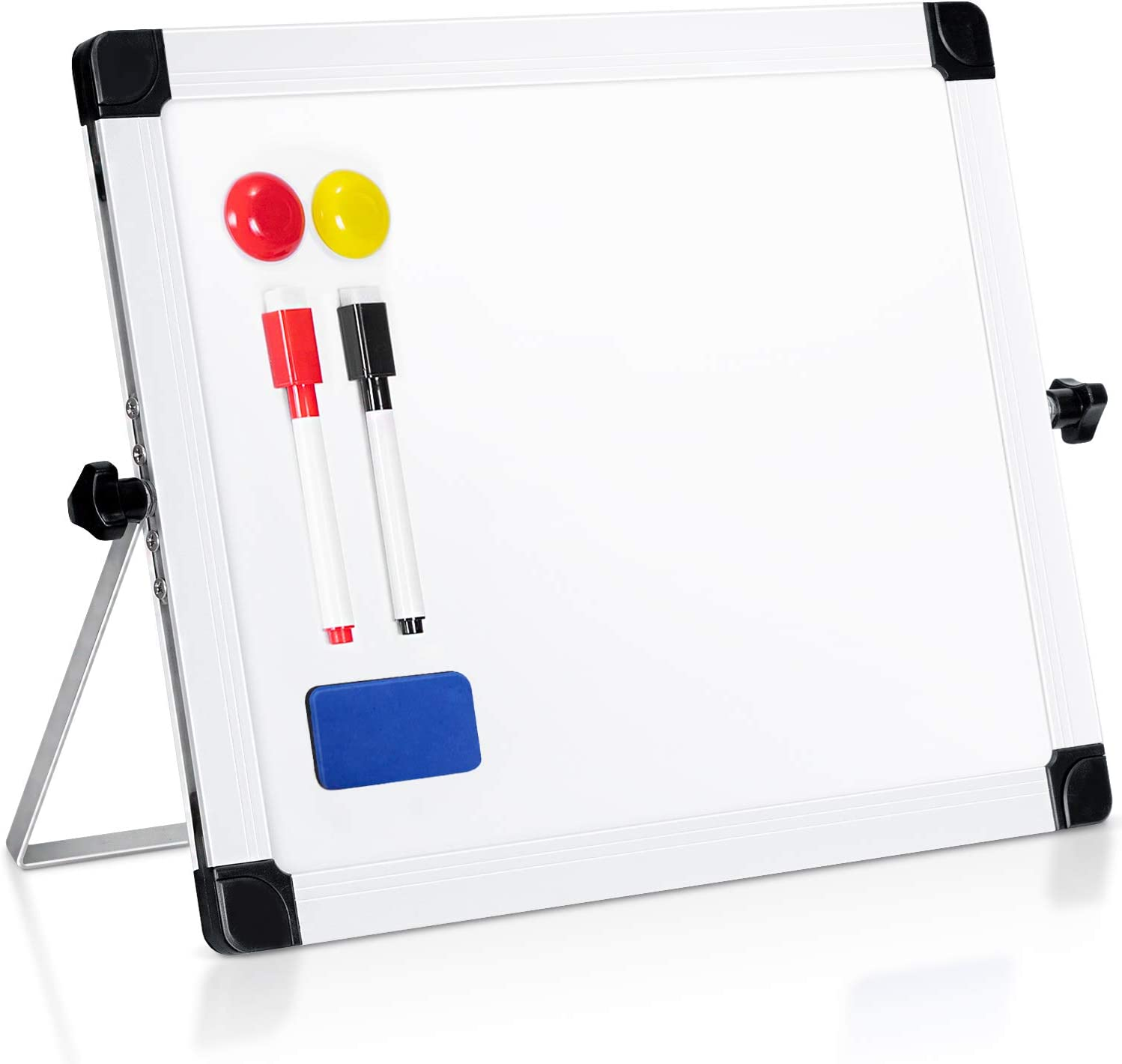 """ARCOBIS 14"""" x 11"""" Dry Erase White Board Easel,Portable Magnetic Double-Sided White Board with Stand for Classroom Home Office"""
