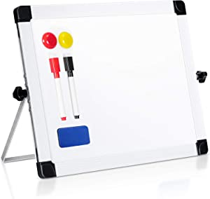 "ARCOBIS 14"" x 11"" Dry Erase White Board Easel,Portable Magnetic Double-Sided White Board with Stand for Classroom Home Office"