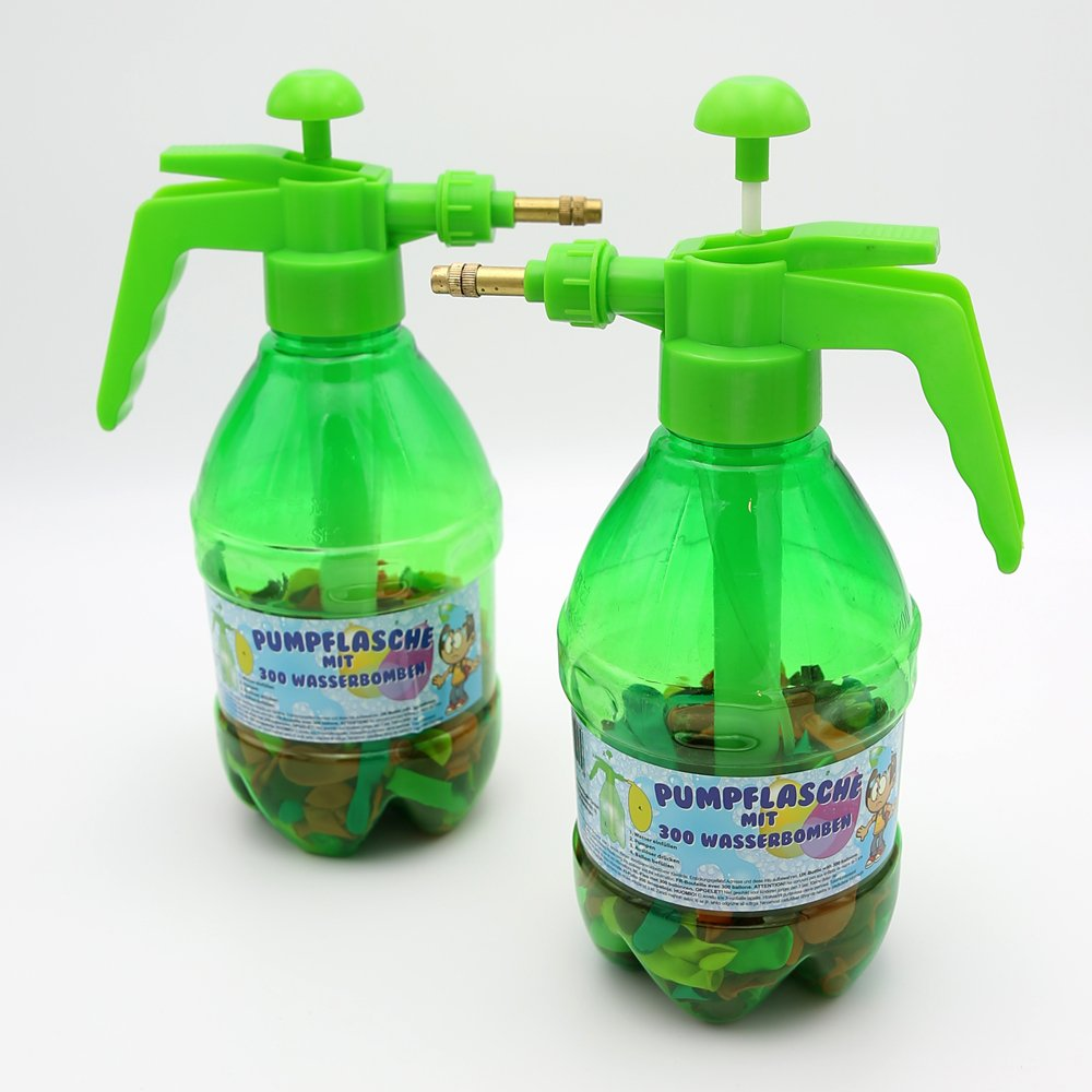 Wasserbomben Pumpe mit 300 Wasserballons Füller Füllhilfe Pump-Sprühflasche Pumpflasche 2er Set Kögler GmbH 79122
