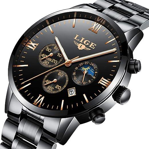 LIGE Relojes Moda Negro Impermeable Acero Inoxidable Analógico Cuarzo Reloj De Lujo Negocios Fecha Cronógrafo: Amazon.es: Relojes