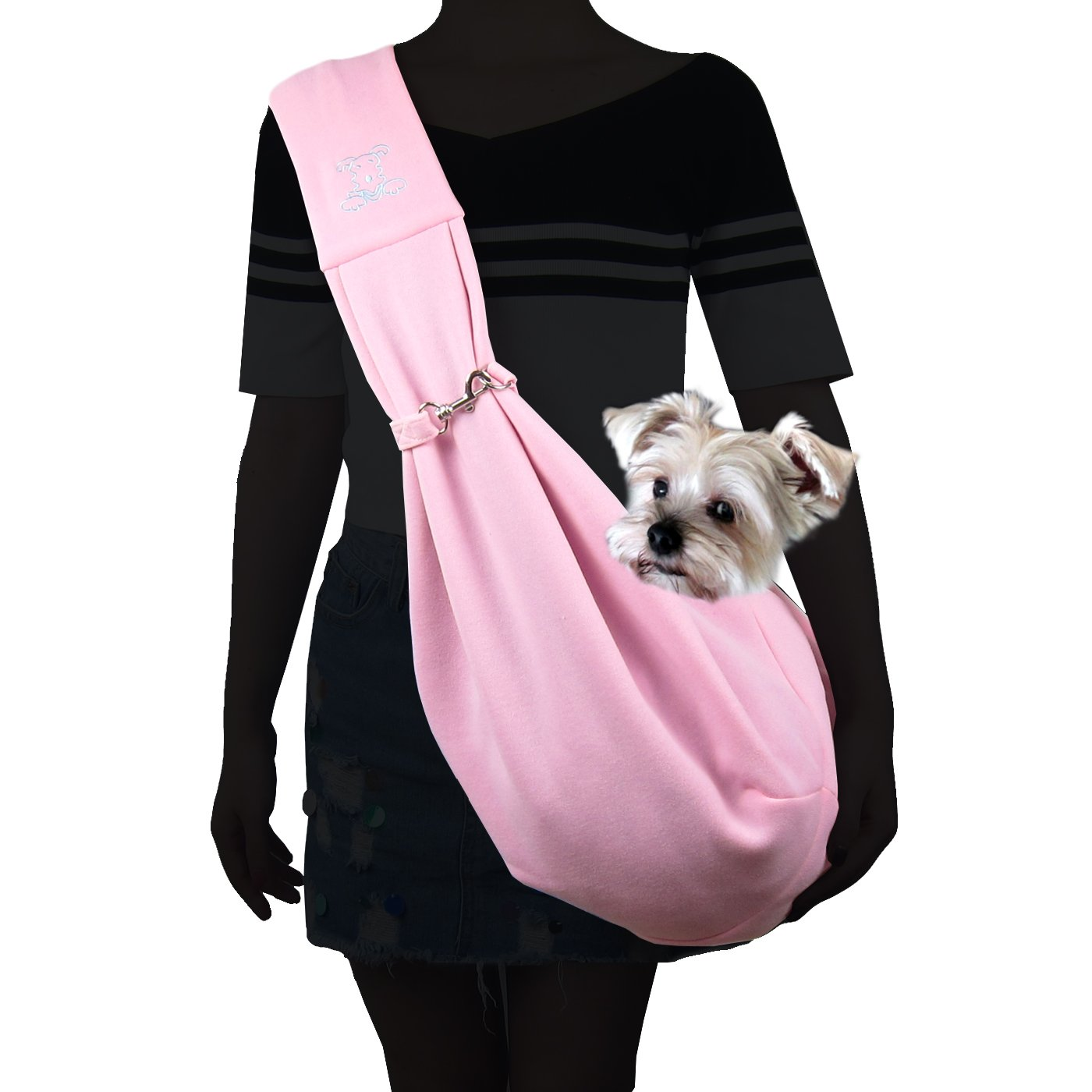 Alfie Pet by Petoga Couture - Chico Reversible Pet Sling Carrier - Color Pink