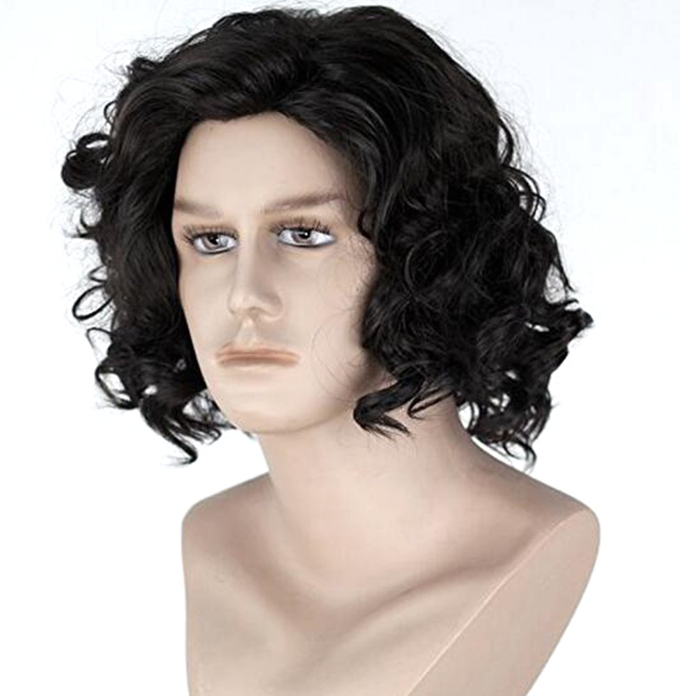 Diy-Wig Northern Snow King Wig Short Black Curly Cosplay Wigs for Men Cosplay Halloween Mens Costumes