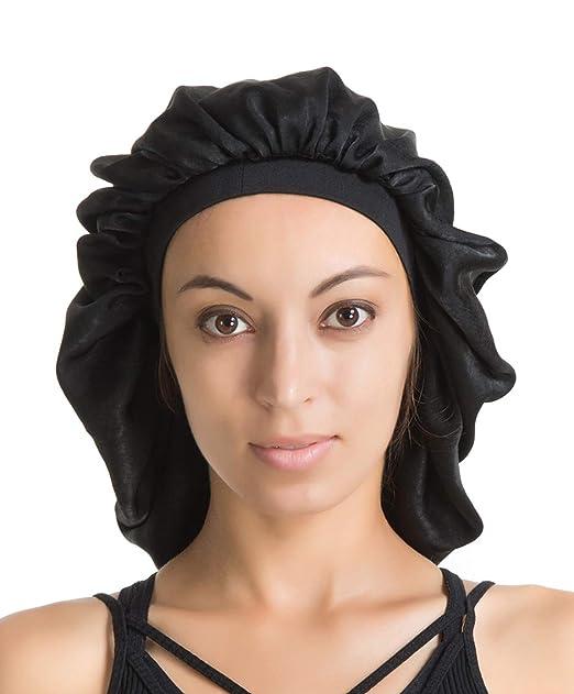 0928fb3f6b389 Satin Silk Bonnet Sleep Cap - Black Soft Extra Large Wide Band S Women  Night Hat