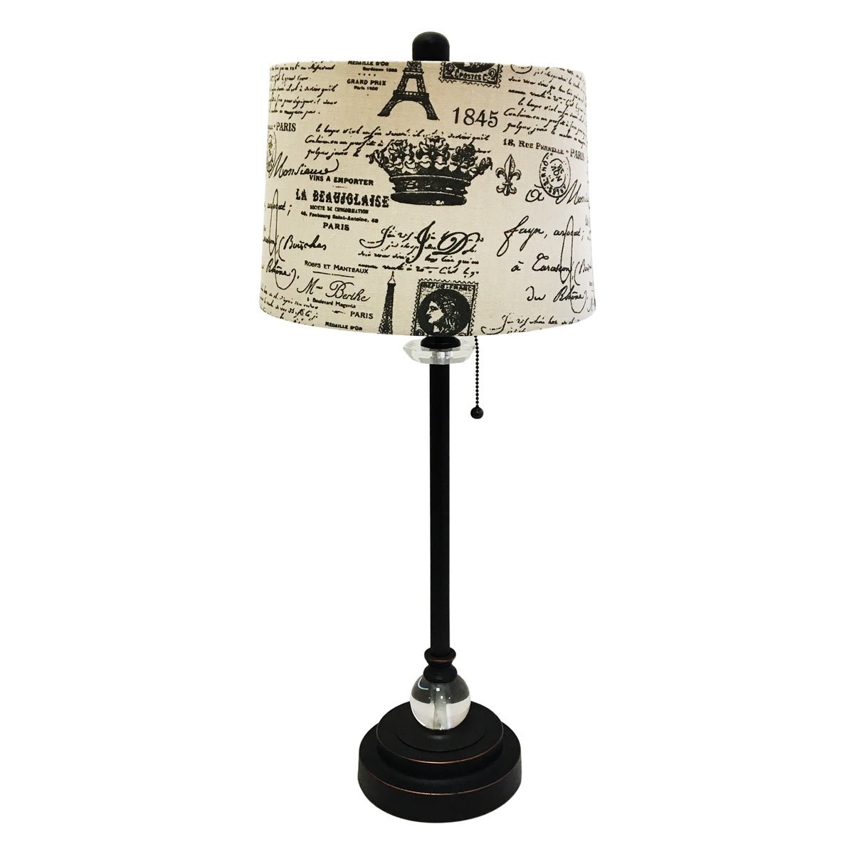 Royal Designs 28'' Crystal and Oil Rub Bronze Lamp with Eggshell and Black Vintage French Print Drum Hardback Lamp Shade