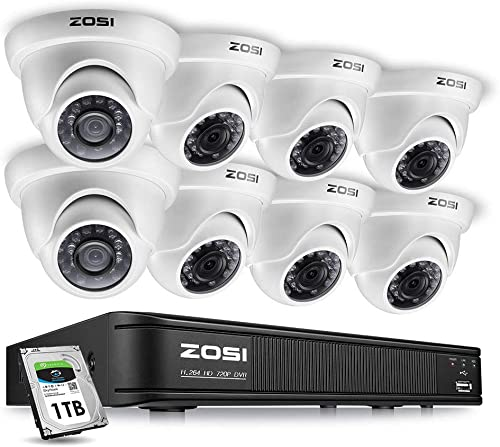 ZOSI 8 Channel Home Surveillance Camera System,1080N CCTV DVR Recorder 1TB HDD Built-in and 8 720p Dome Security Cameras Outdoor Indoor with Night Vision, Remote Access, Motion Detection