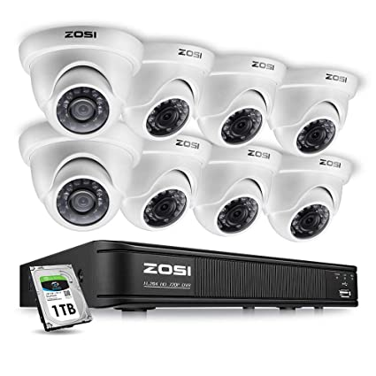 ZOSI 8-Channel 720P HD-TVI Home Surveillance Camera System,1080N CCTV DVR  Recorder (1TB Hard Disk Built-in ) and (8) 1 0MP 1280TVL Outdoor/Indoor