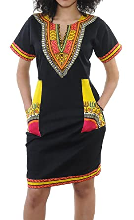 4f9ef124327 Plus Size Women Traditional African Print Dashiki Bodycon Short Sleeve  Dresses