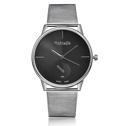 Amazon.com: Fenkoo Relojes de marca Womage Women Lady Fashion Stainless Steel Mesh Analog Bracelet Wrist Watch (Color : Black) : Watches