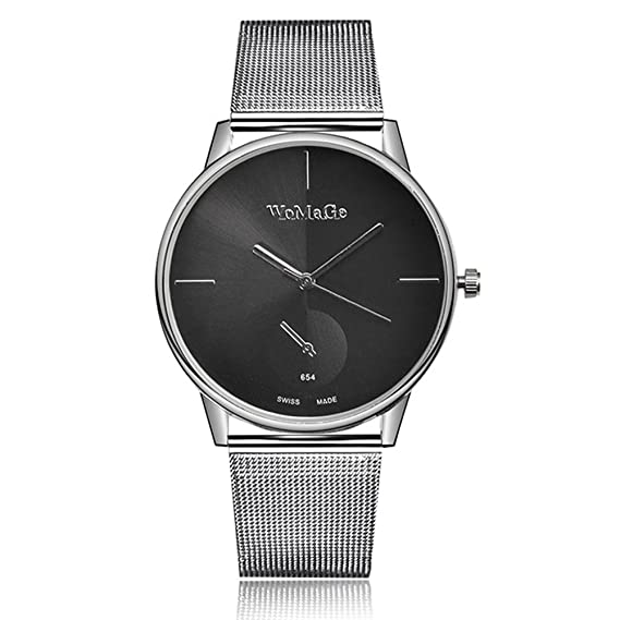 Fenkoo Relojes de marca Womage Women Lady Fashion Stainless Steel Mesh Analog Bracelet Wrist Watch (