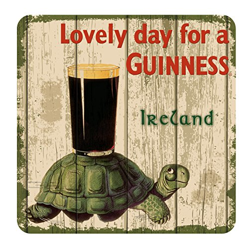 - Nostalgic Guinness Coaster with Tortoise & Pint & Lovely Day For a Guinness Text