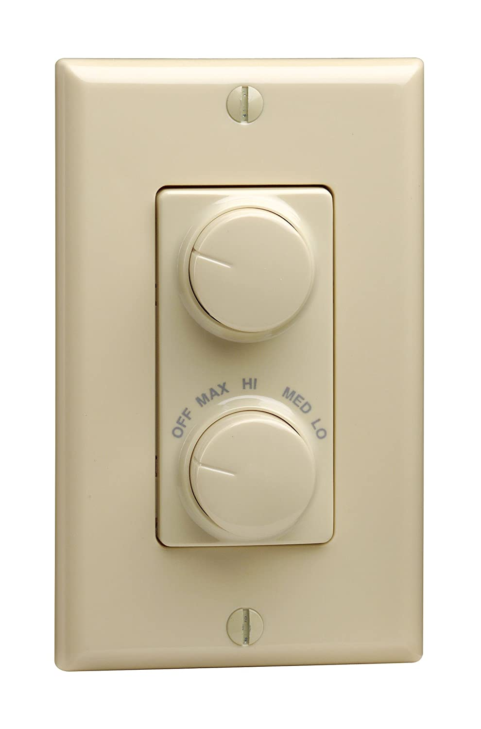 Plate 1.5 A 300 W 120 V Leviton RTD01-10I Illumatech R21-Electro-Mechanical Fan Speed Control with Dimmer Ivory