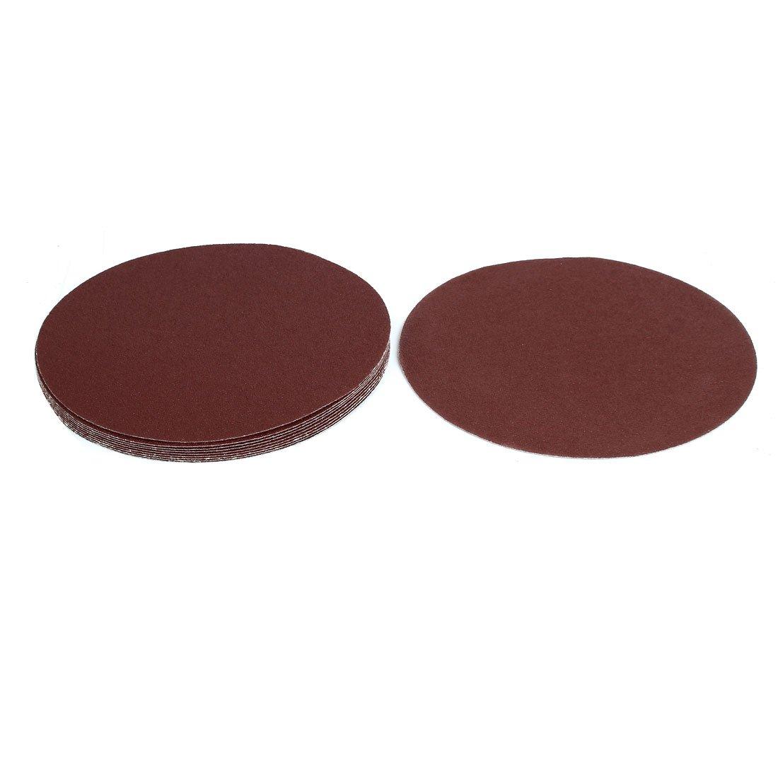 sourcingmap 9-inch Dia 60 Grits Sanding Disc Polishing Pad Flocking Sandpaper 10pcs