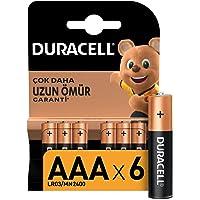Duracell Alkalin AAA İnce Kalem Piller, 6'lı paket