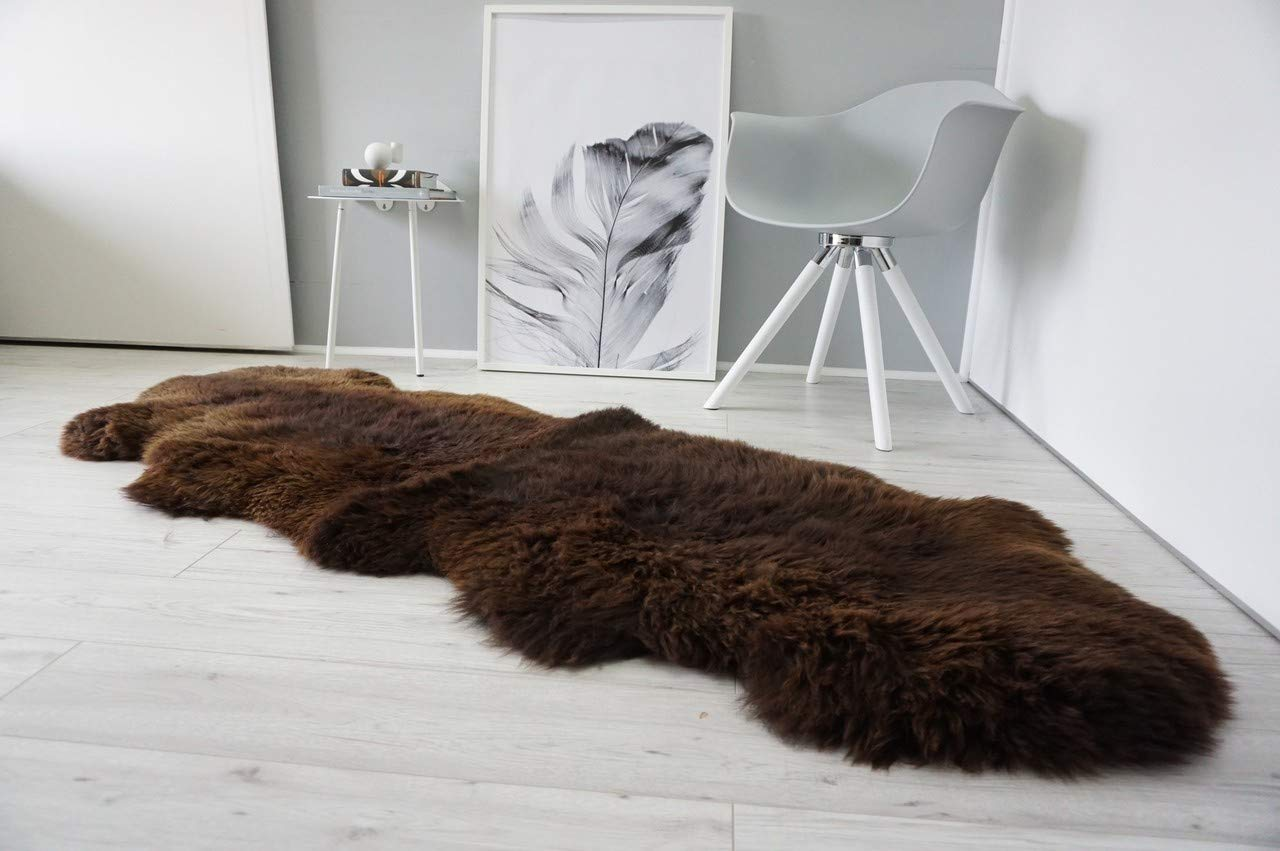 A-STAR(TM) Long Wool Sheepskin Rug - Double - 2x6 Sheep Rug (Brown)