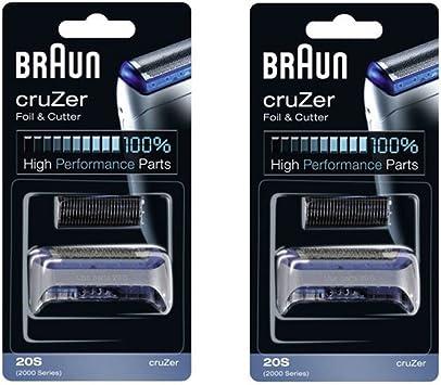 Braun 20 2000 serie CruZer 1, 2, 3, 4 lámina afeitadora y cortadora Combi pack cabeza recambio Cassette, cuenta 2 ...