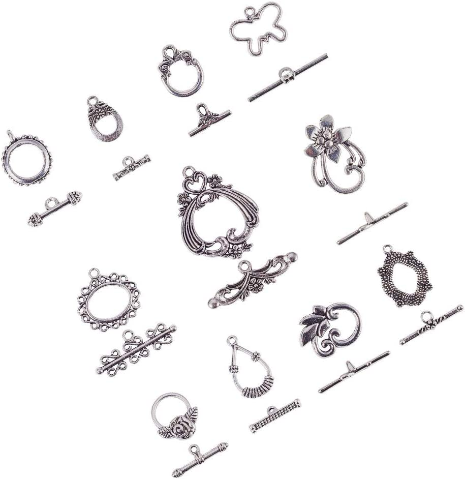 Butterfly Toggle Clasps Antique Silver Metal Alloy 17x20mm  12 Pcs DIY Jewellery