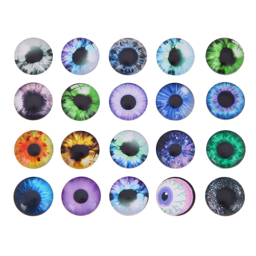 Whitelotous 20Pcs Glass Safety Eyes Craft Dinosaur Eyeballs Gem Decor for Doll Puppet Plush Animal(12mm)
