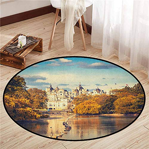 Kids Rugs,London,Picturesque ST James Park in UK Baroque Architecture Heritage Medieval Landscape,Children Bedroom Rugs,4'3