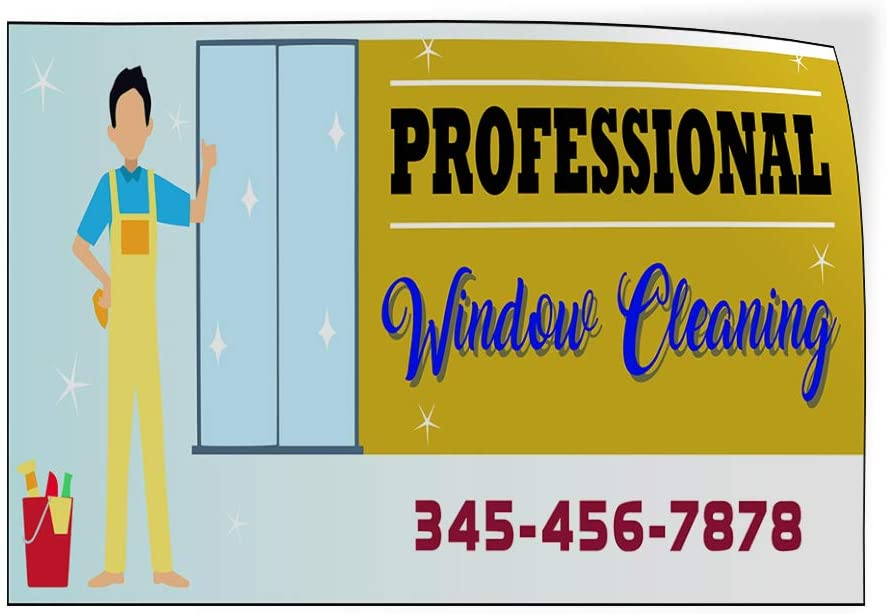 Custom Door Decals Vinyl Stickers Multiple Sizes Professional Window Cleaning Phone Business Professional Window Cleaning Outdoor Luggage /& Bumper Stickers for Cars Blue 52X34Inches Set of 5