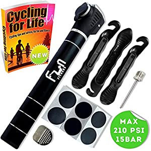 FunFitness Mini Bike Pump (Rich Black) with Glueless Puncture Repair Kit World's Best Micro High Pressure Portable Bicycle Air Pump 210 PSI Designed For Presta & Schrader Valves