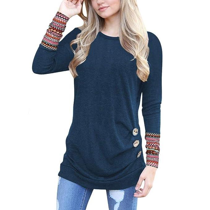 Rovinci☆ Blusas de Las Mujeres Color sólido Bohemio Impreso Botón de Manga Larga Blusa Casual O Cuello Tops Camisetas: Amazon.es: Ropa y accesorios