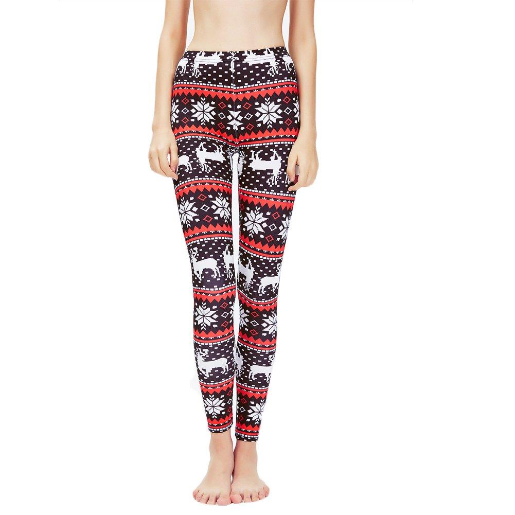 9f48a297ba7 Ensasa Womens Autumn Winter Snowflake Graphic Printed Stretchy Leggings  Pants at Amazon Women s Clothing store