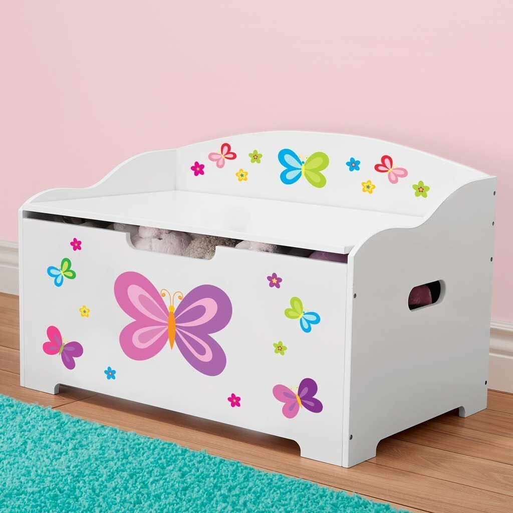 Dibsies Modern Expressions Toy Box - White (Butterfly) by DIBSIES Personalization Station