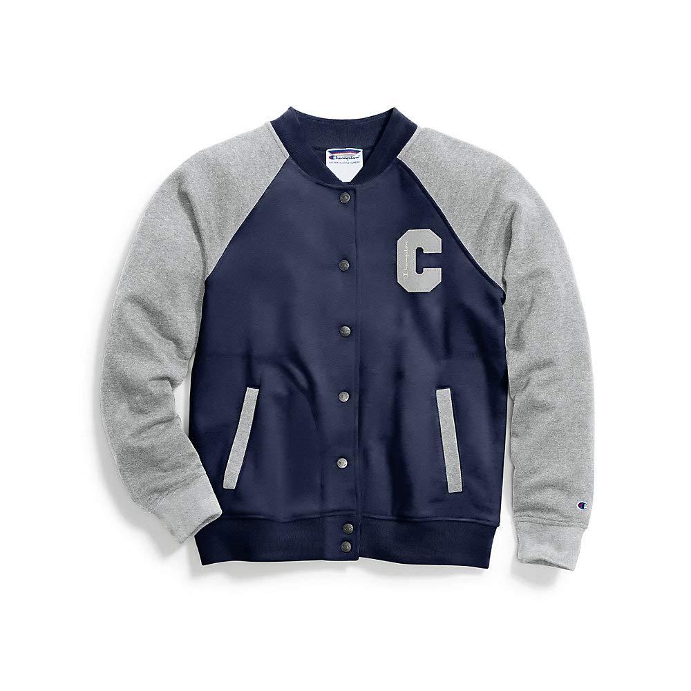 Imperial Indigo Oxford Grey Heather Champion Womens Heritage Bomber Jacket Jacket