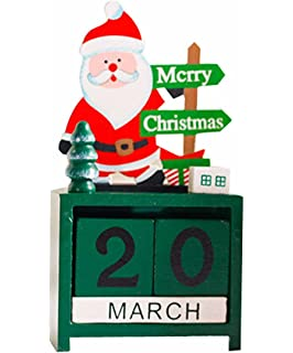 wooden christmas countdown date santa christmas xmas decoration toy santa claus