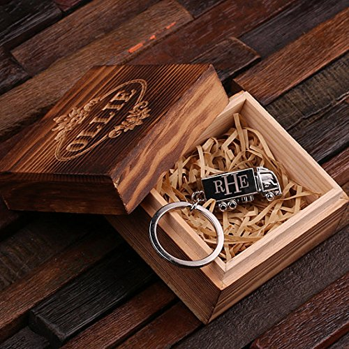 Personalized PolishedステンレススチールキーチェーンTrucker Includes Wood Gift Box シルバー 024815_B B01ENT6QLK  Includes Wood Gift Box