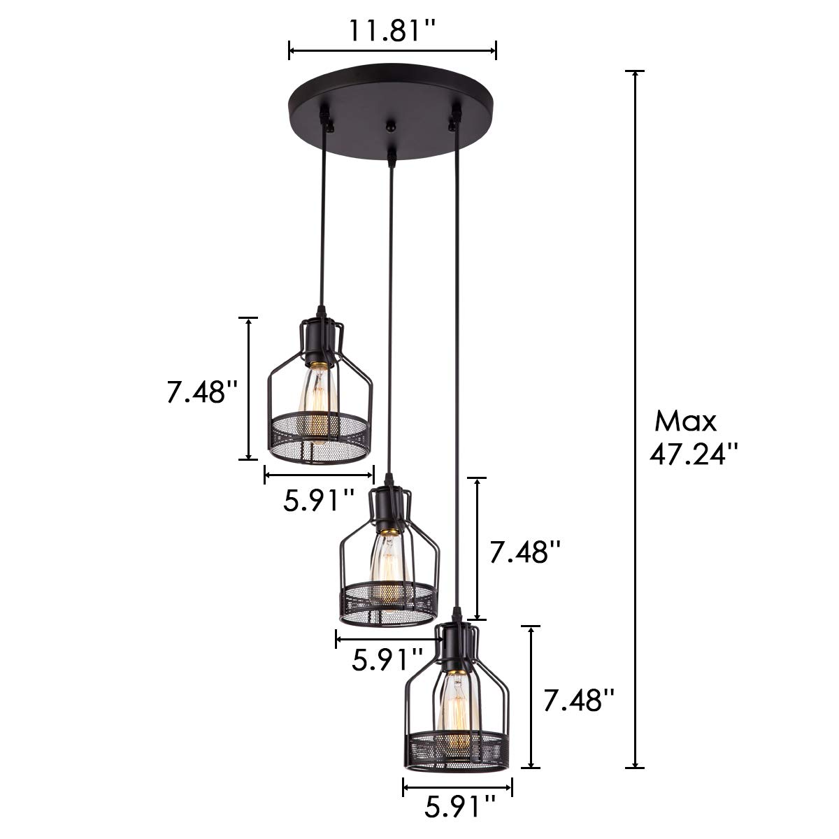 Pendant Light with Rustic Black Metal Cage Shade, Industrial Retro Matte Black Adjustable 3-Lights Hanging Lighting, Pendant lamp Fixtures for Home, Kitchen Island, Barn, Dining Room, Cafe, Farmhouse by ZYuan (Image #6)