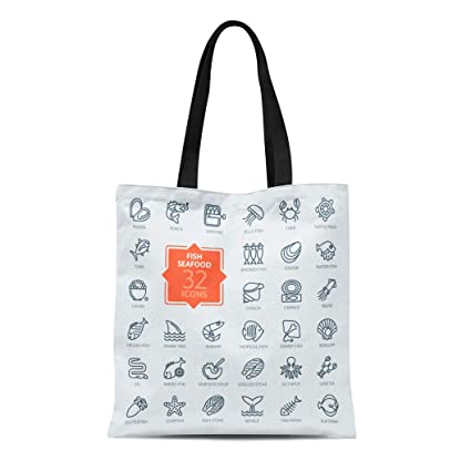 46d09aef381e Amazon.com: Semtomn Canvas Tote Bag Shoulder Bags Sea Food Fish and ...