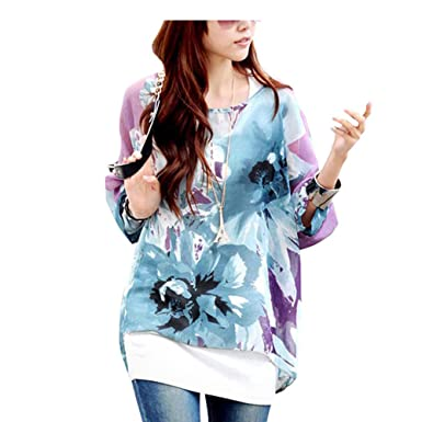 dd463588104bb OUKIN Womens Chiffon Blouse Bohemian Floral Batwing Sleeve Plus Size Tops  Tunic (Color 1