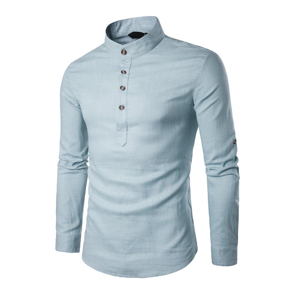 Veravant Hemd Leinen Herren Regular Fit Langarmes Einfarbig Freizeithemd Hemden