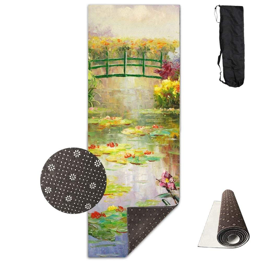Monet Paintings Colorful Flowers Deluxe,Yoga Mat Aerobic Exercise Pilates Anti-slip Gymnastics Mats