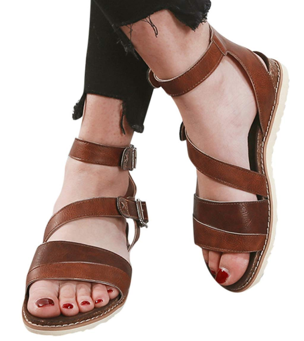 Hemlock Women Summer Fashion Flat Sandals Cross Belt Breathable Shoes Soft Padded Insole Sandals Slippers Brown