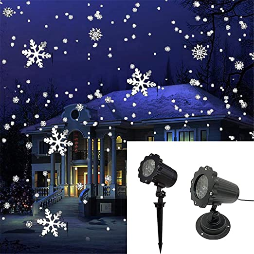 JFJL Led Luces De Proyector De Navidad,luz Nevada Impermeable Nieve Ráfagas Foco De Paisaje Copos De Nieve Blanca con Control Remoto Inalámbrico ...