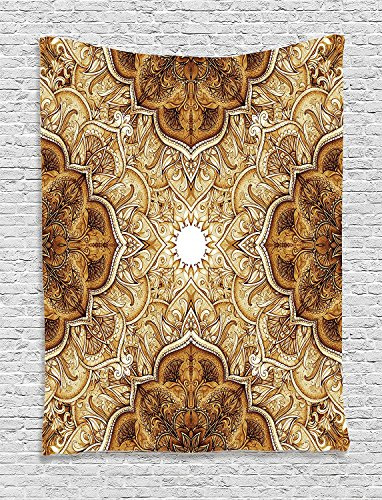 Ambesonne Antique Decor Collection, Vintage Style Leaf Pattern Classic Islamic Architecture Decorating Elements Folk Art, Bedroom Living Room Dorm Wall Hanging Tapestry, Brown Cream