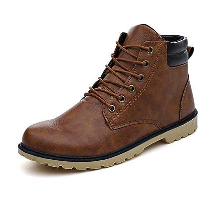 ZHRUI botas de hombre Negro, botines de tacón bajo para hombre Zapatos de cuero de invierno ...