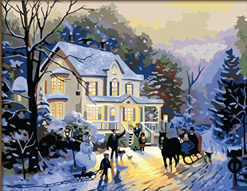 [ New Release, Wooden Framed or Not ] Diy Oil Painting by Numbers, Paint by Number Kits - Winter Romance 16*20 inches - PBN Kit for Adults Girls Kids White Christmas Decor Decorations Gifts