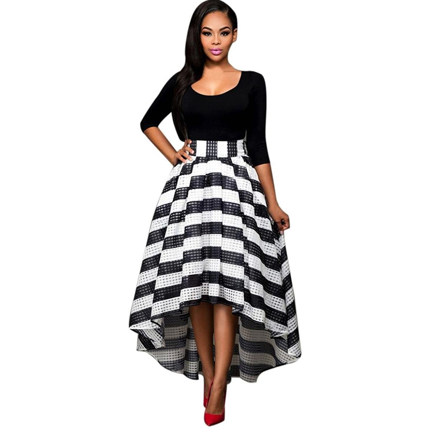 7fded65b105 ✿Simple But Stylish Design  slim fit black top collocation with striped  skirt which have bow tie detail at back