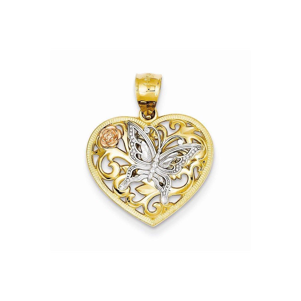 14k Tri color Butterfly Heart Pendant