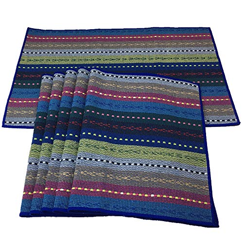 Red-A Hand Woven with 100% Cotton Placemats Colorful Placemats Braided Ribbed Durable Heat-Insulation Table Mats Set of 6,Blue
