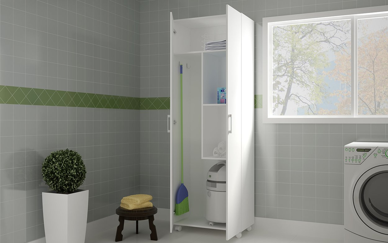 Buyqualia Multi-Purpose Cabinet or Escobero with Two Doors and Wheels in White