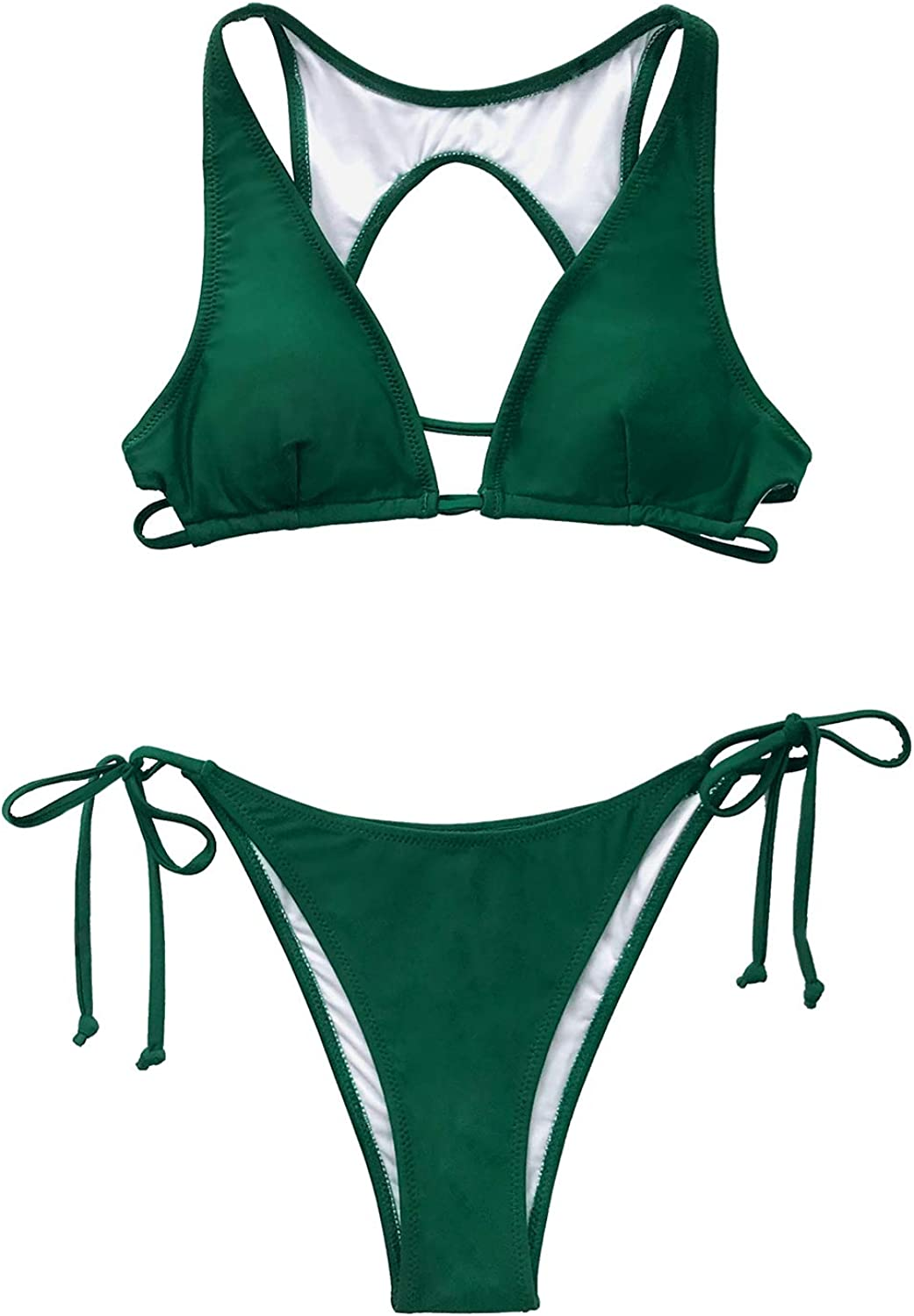 amazon com cupshe women s low rise v neck double straps drawstring bikini set xs green clothing amazon com