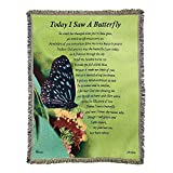 Dicksons Today I Saw A Butterfly Green 68 x 52 Inch Tapestry Throw Blanket