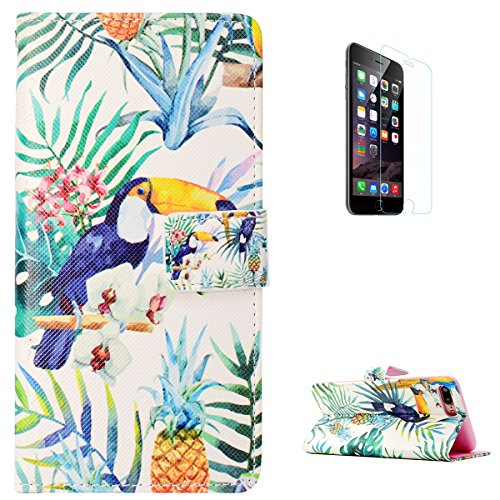 KaseHone iPhone 7 Plus/8 Plus Case [Free screen Protector], Folio Leather Wallet Case Elegant Pattern with Card Slots & Kickstand Flip Magnetic Anti-Scrach Slim Cover Shell - Pineapple (Scratches On Face Halloween)