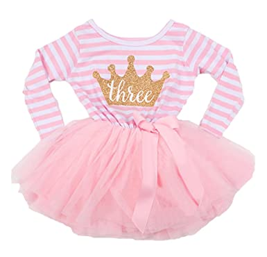 4b41ebf81 3rd Birthday Girls Stripe Pink tutu party dress (3 year old)  Amazon ...